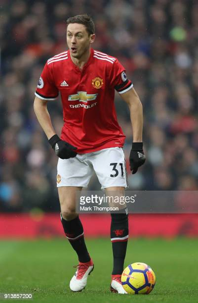 Nemanja Matic of Manchester United in action during the Premier League match between Manchester United and Huddersfield Town at Old Trafford on...