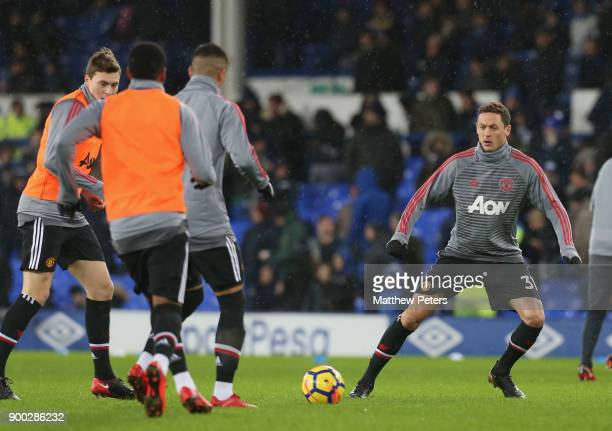 Nemanja Matic of Manchester United in action during the warmup ahead of the Premier League match between Everton and Manchester United at Goodison...