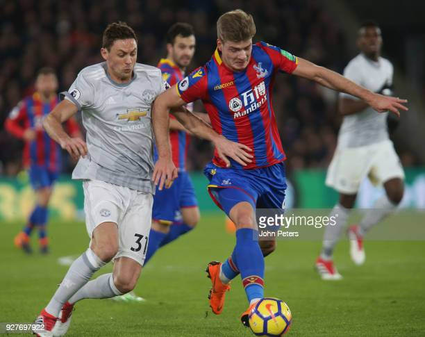 Nemanja Matic of Manchester United in action with Alexander Sorloth of Crystal Palace during the Premier League match between Crystal Palace and...