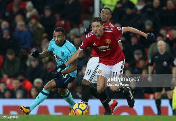 Nemanja Matic of Manchester United in action with Callum Wilson of AFC Bournemouth during the Premier League match between Manchester United and AFC...