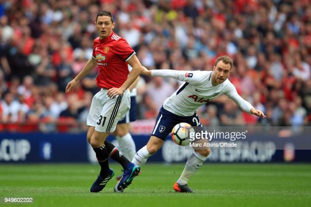 Nemanja Matic of Manchester United in action with Christian Eriksen of Tottenham Hotspur' during the The Emirates FA Cup Semi Final at Wembley...