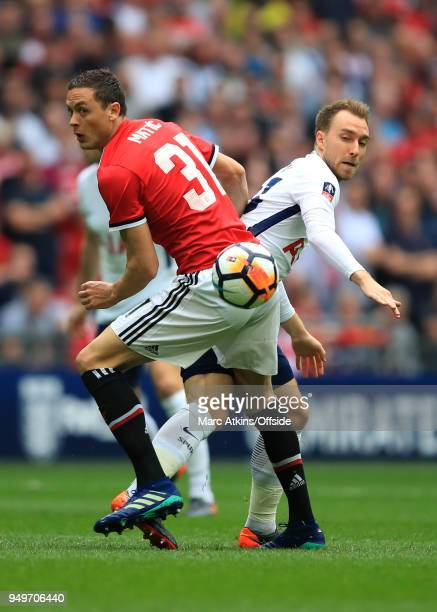 Nemanja Matic of Manchester United in action with Christian Eriksen of Tottenham Hotspur during the Emirates FA Cup Semi Final at Wembley Stadium...