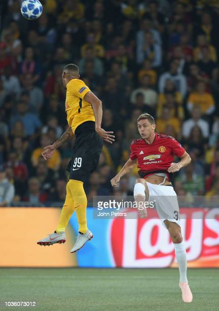 Nemanja Matic of Manchester United in action with Guillaume Hoarau of BSC Young Boys during the Group H match of the UEFA Champions League between...