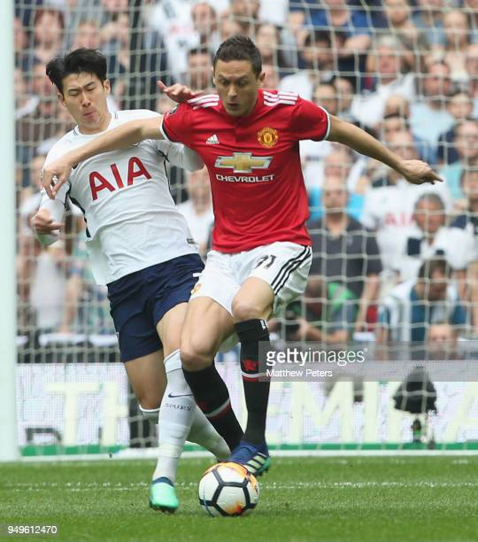 Nemanja Matic of Manchester United in action with HeungMin Son of Tottenham Hotspur during the Emirates FA Cup semifinal match between Manchester...