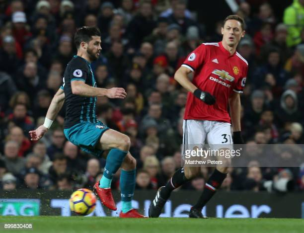 Nemanja Matic of Manchester United in action with Jack Stephens of Southampton during the Premier League match between Manchester United and...