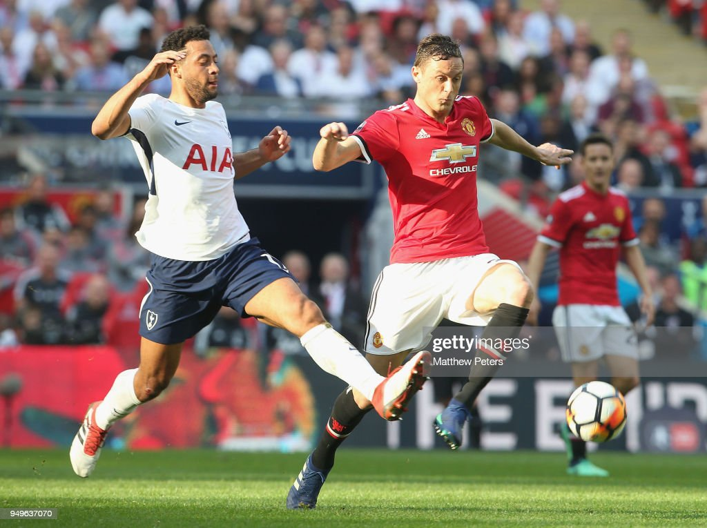 Nemanja Matic of Manchester United in action with Mousa Dembele of Tottenham Hotspur during the Emirates FA Cup semi-final match between Manchester United and Tottenham Hotspur at Wembley Stadium on April 21, 2018 in London, England.