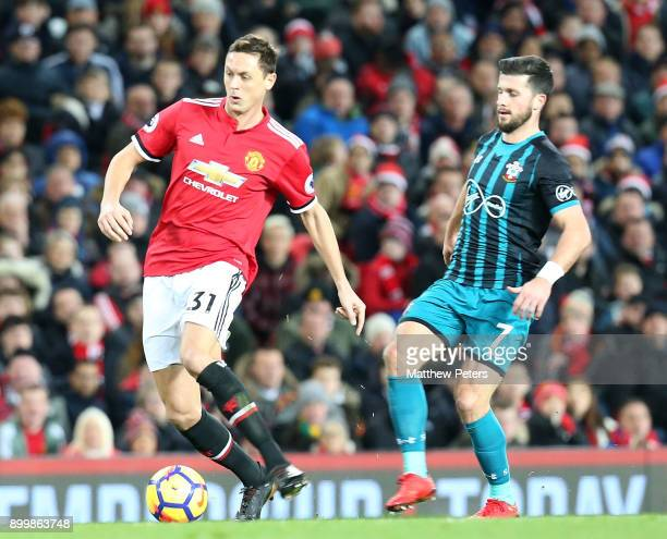 Nemanja Matic of Manchester United in action with Shane Long of Southampton during the Premier League match between Manchester United and Southampton...