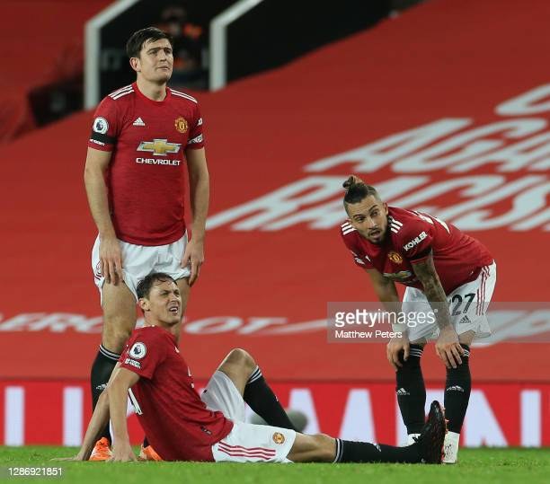 Nemanja Matic of Manchester United lies injured during the Premier League match between Manchester United and West Bromwich Albion at Old Trafford on...