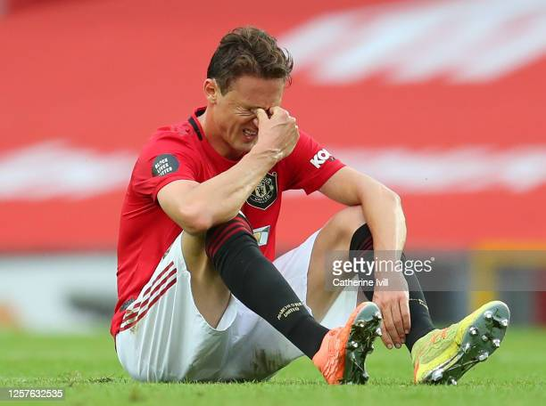 Nemanja Matic of Manchester United looks dejected following the Premier League match between Manchester United and West Ham United at Old Trafford on...