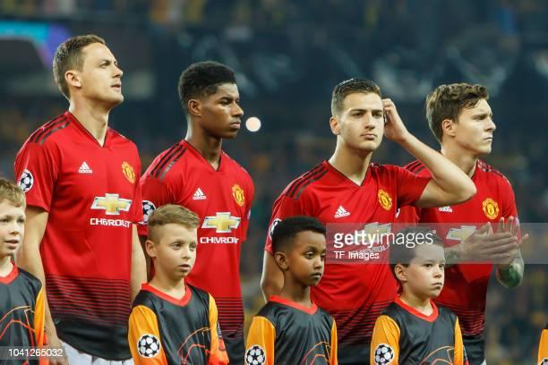 Nemanja Matic of Manchester United Marcus Rashford of Manchester United Diogo Dalot of Manchester United Victor Lindeloef of Manchester United look...