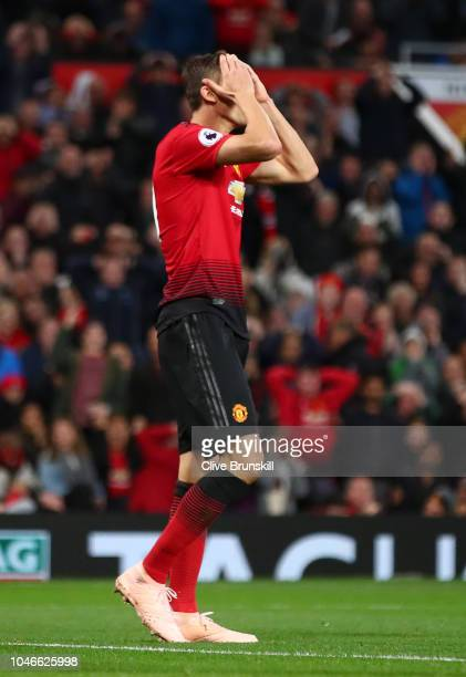 Nemanja Matic of Manchester United reacts after a missed chance during the Premier League match between Manchester United and Newcastle United at Old...