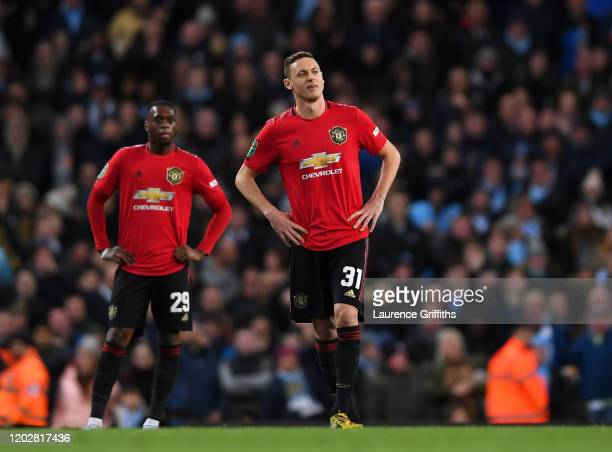 Nemanja Matic of Manchester United reacts after being sentoff during the Carabao Cup Semi Final match between Manchester City and Manchester United...