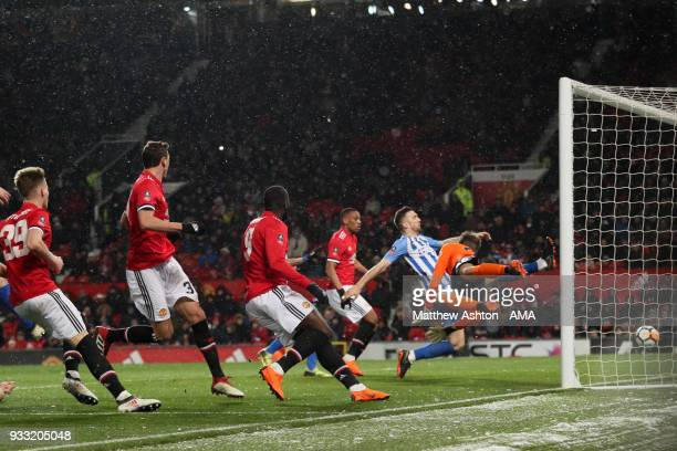 Nemanja Matic of Manchester United scores a goal to make it 20 during the FA Cup Quarter Final match between Manchester United and Brighton Hove...