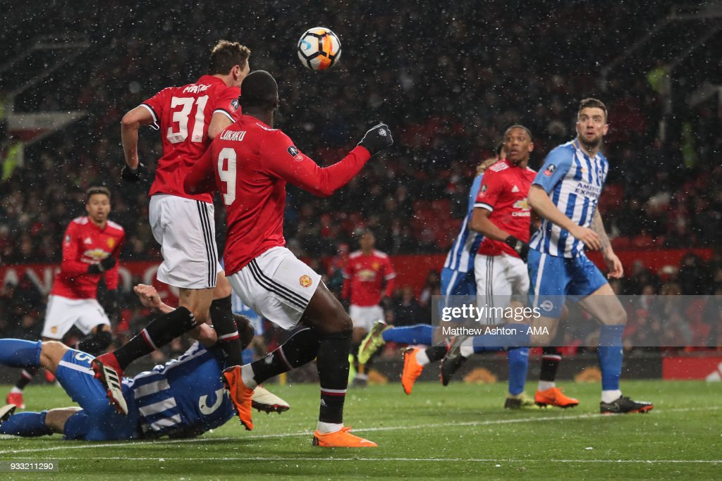 Nemanja Matic of Manchester United scores a goal to make it 2-0 during the FA Cup Quarter Final match between Manchester United and Brighton & Hove Albion at Old Trafford on March 17, 2018 in Manchester, England.