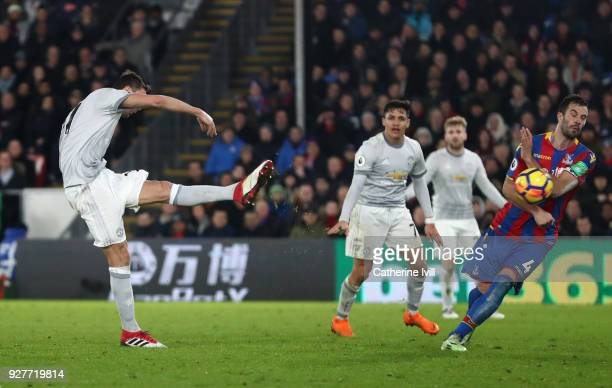 Nemanja Matic of Manchester United scores the third Manchester United goal during the Premier League match between Crystal Palace and Manchester...