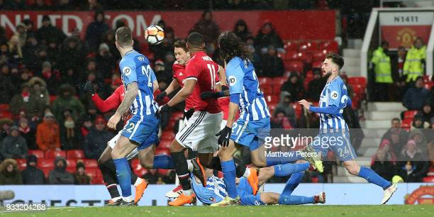 Nemanja Matic of Manchester United scores their second goal during the Emirates FA Cup Quarter Final match between Manchester United and Brighton...