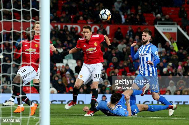 Nemanja Matic of Manchester United scores their second goal during the Emirates FA Cup Quarter Final between Manchester United and Brighton Hove...