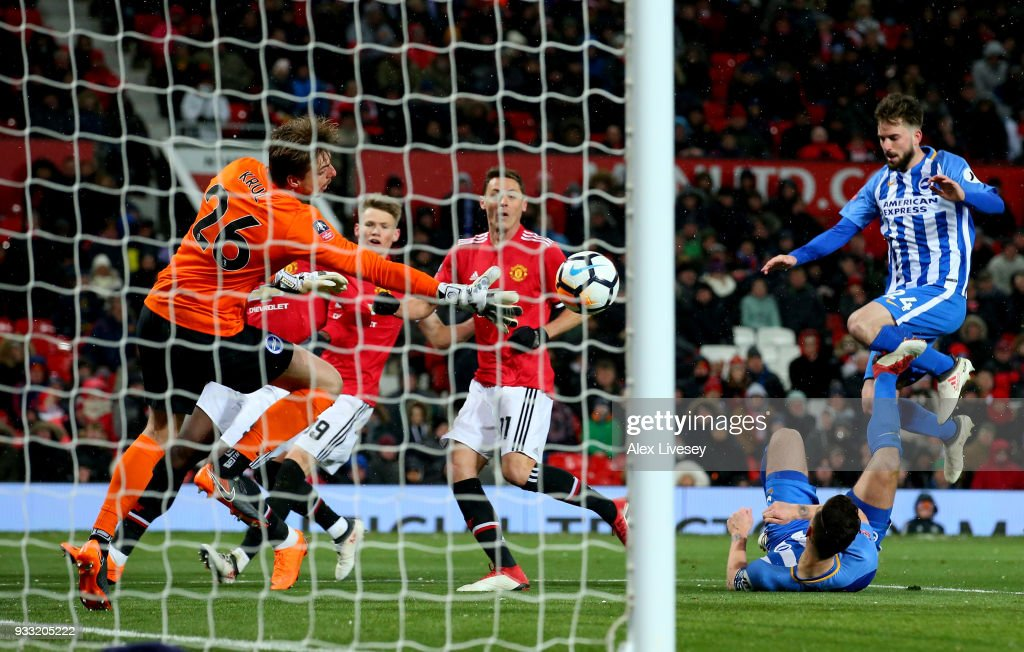 Nemanja Matic of Manchester United scores their second goal during the Emirates FA Cup Quarter Final between Manchester United and Brighton & Hove Albion at Old Trafford on March 17, 2018 in Manchester, England.
