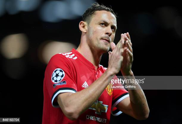 Nemanja Matic of Manchester United shows appreciation to the fans after the UEFA Champions League Group A match between Manchester United and FC...