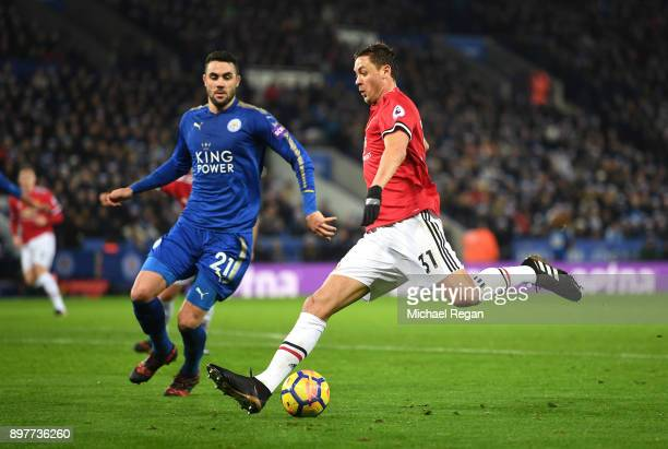 Nemanja Matic of Manchester United takes on Vicente Iborra of Leicester City during the Premier League match between Leicester City and Manchester...