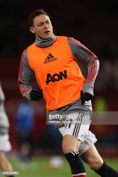 Nemanja Matic of Manchester United warming up during the FA Cup Quarter Final match between Manchester United and Brighton Hove Albion at Old...