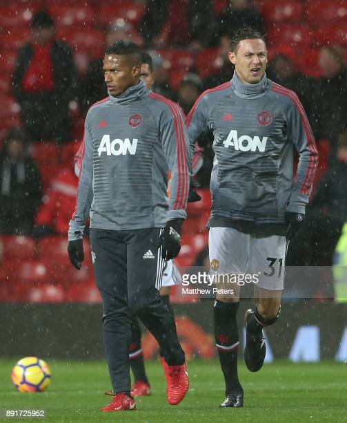 Nemanja Matic of Manchester United warms up ahead of the Premier League match between Manchester United and AFC Bournemouth at Old Trafford on...