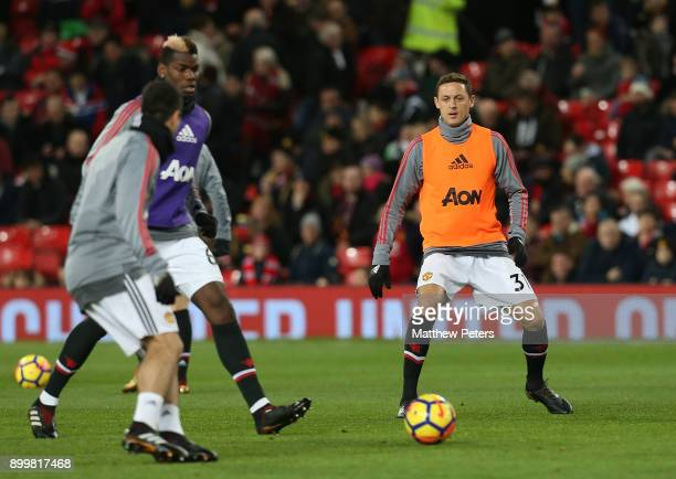 Nemanja Matic of Manchester United warms up ahead of the Premier League match between Manchester United and Southampton at Old Trafford on December...
