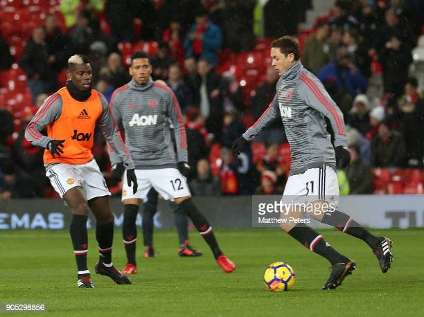 Nemanja Matic of Manchester United warms up ahead of the Premier League match between Manchester United and Stoke City at Old Trafford on January 15...