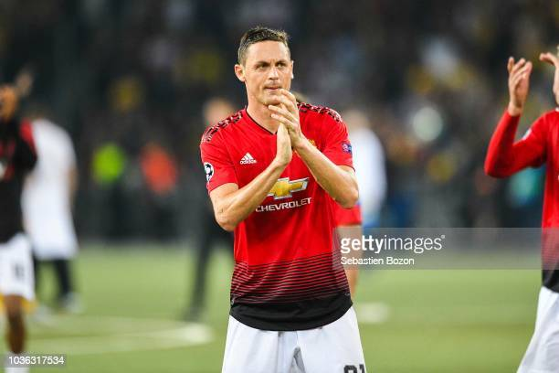 Nemanja Matic of Manchesternad Marouane Fellaini of Manchester celebrates during the Champions League match between Young Boys Berne and Manchester...