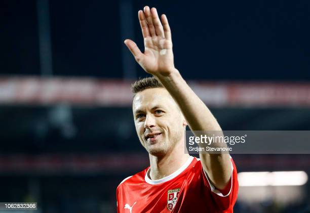 Nemanja Matic of Serbia applaudds to the fans after the UEFA Nations League C group four match between Serbia and Montenegro at stadium Rajko Mitic...