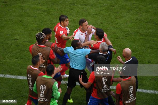 Nemanja Matic of Serbia clashes with Celso Borges of Costa Rica during the 2018 FIFA World Cup Russia group E match between Costa Rica and Serbia at...