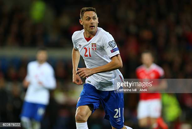 Nemanja Matic of Serbia during the FIFA 2018 World Cup Qualifier between Wales and Serbia at Cardiff City Stadium on November 12 2016 in Cardiff Wales