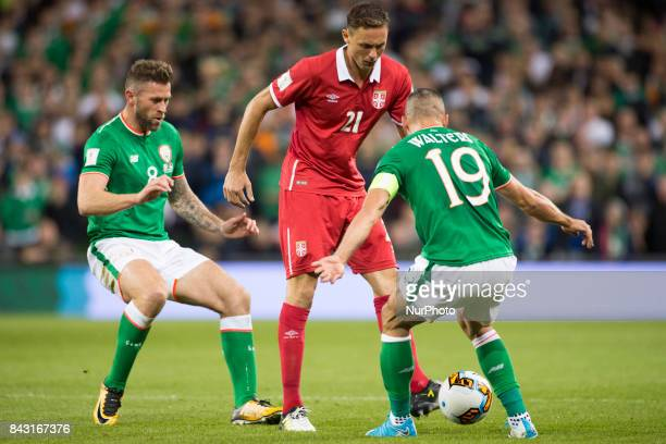 Nemanja Matic of Serbia fight with Jon Walters of Ireland during the FIFA World Cup 2018 Qualifying Round match between Republic of Ireland and...