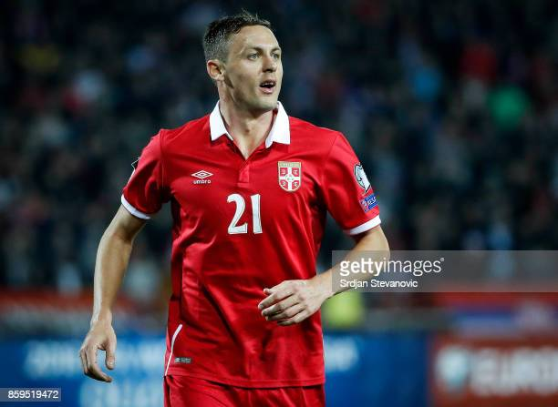 Nemanja Matic of Serbia in action during FIFA 2018 World Cup Qualifier between Serbia and Georgia at stadium Rajko Mitic on October 9 2017 in Belgrade