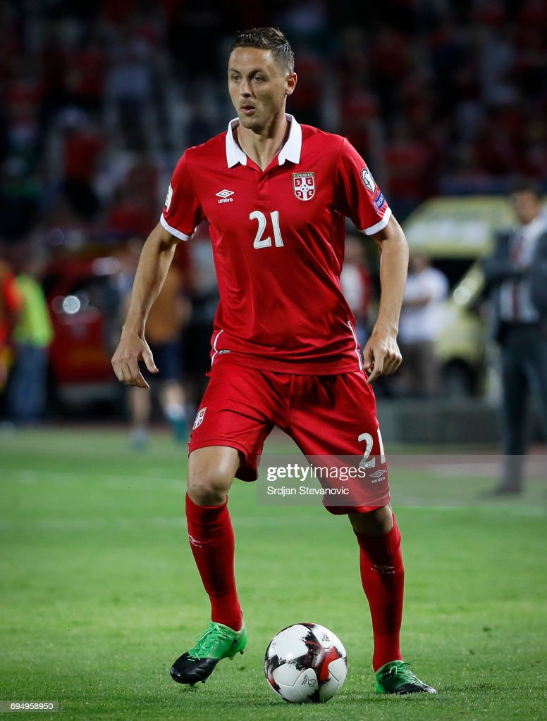 Nemanja Matic of Serbia in action during the FIFA 2018 World Cup Qualifier between Serbia and Wales at stadium Rajko Mitic on June 11, 2017 in Belgrade, Serbia.