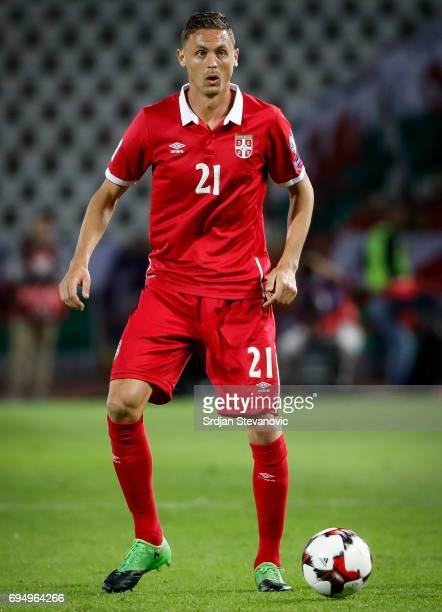 Nemanja Matic of Serbia in action during the FIFA 2018 World Cup Qualifier between Serbia and Wales at stadium Rajko Mitic on June 11 2017 in...