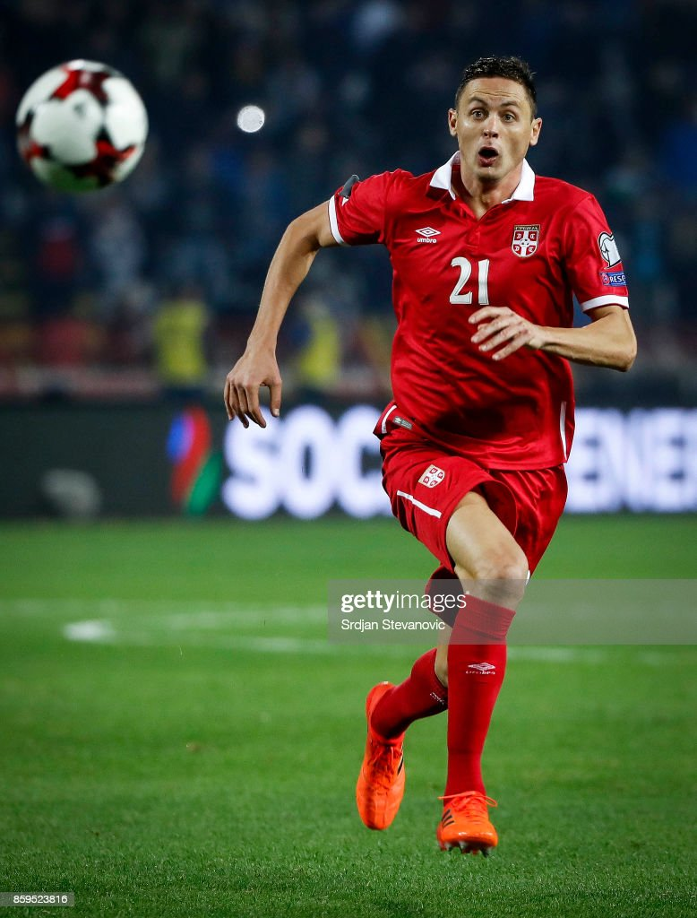 Nemanja Matic of Serbia in action during the FIFA 2018 World Cup Qualifier between Serbia and Georgia at stadium Rajko Mitic on October 9, 2017 in Belgrade.