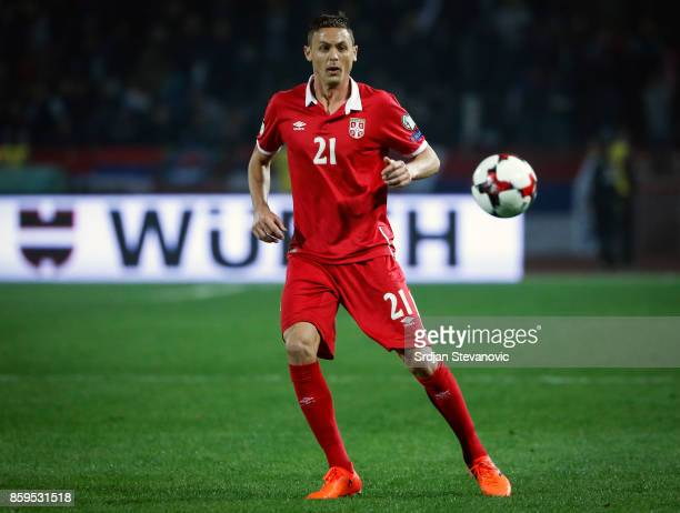 Nemanja Matic of Serbia in action during the FIFA 2018 World Cup Qualifier between Serbia and Georgia at stadium Rajko Mitic on October 9 2017 in...
