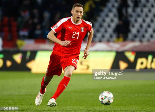 Nemanja Matic of Serbia in action during the UEFA Nations League C group four match between Serbia and Montenegro at stadium Rajko Mitic on November...