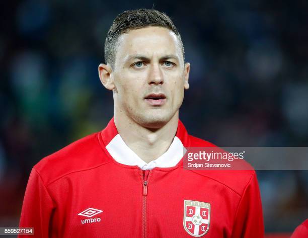 Nemanja Matic of Serbia looks on prior to the FIFA 2018 World Cup Qualifier between Serbia and Georgia at stadium Rajko Mitic on October 9 2017 in...