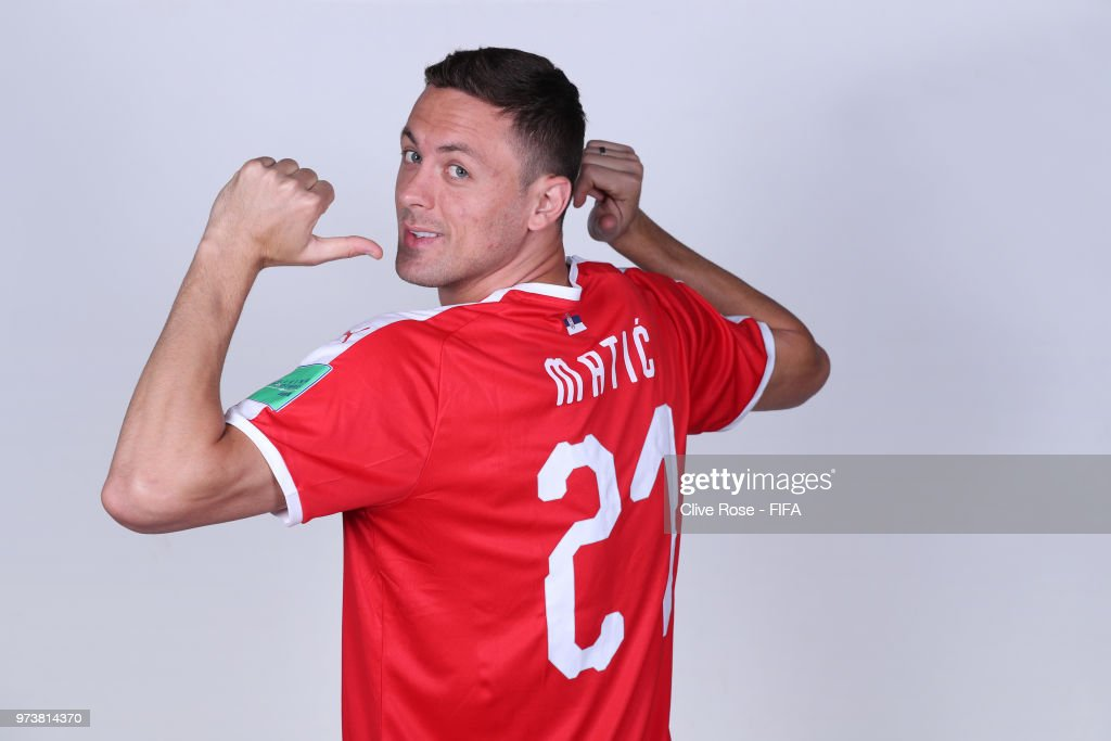 Nemanja Matic of Serbia poses for a portrait during the official FIFA World Cup 2018 portrait session at the Team Hotel on June 12, 2018 in Kaliningrad, Russia.