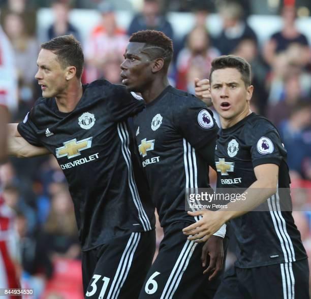 Nemanja Matic Paul Pogba and Ander Herrera of Manchester United celebrate Marcus Rashford scoring their first goal their first goal during the...