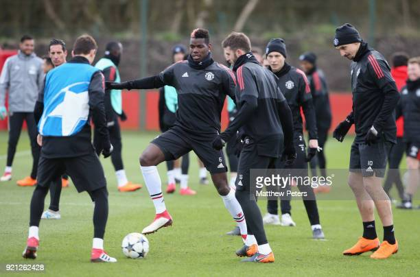 Nemanja Matic Paul Pogba Michael Carrick Victor Lindelof and Zlatan Ibrahimovic of Manchester United in action during a first team training session...