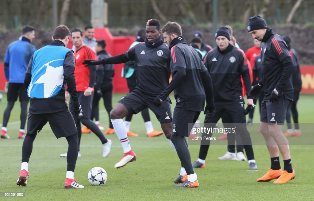 Nemanja Matic, Paul Pogba, Victor Lindelof and Zlatan Ibrahimovic of Manchester United in action during a first team training session at Aon Training Complex on February 20, 2018 in Manchester, England.