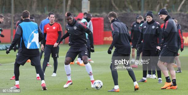 Nemanja Matic Paul Pogba Victor Lindelof and Zlatan Ibrahimovic of Manchester United in action during a first team training session at Aon Training...