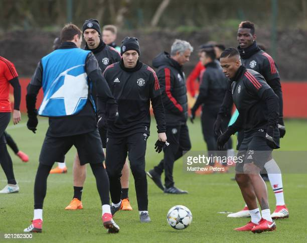 Nemanja Matic Zlatan Ibrahimovic Victor Lindelof Antonio Valencia and Paul Pogba of Manchester United in action during a first team training session...