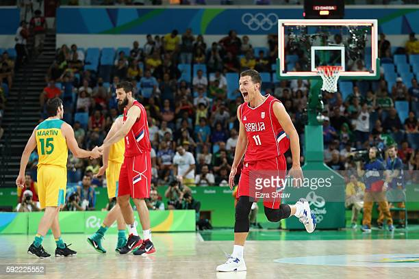 Nemanja Nedovic of Serbia celebrates after defeating Australia in the Men's Semifinal match on Day 14 of the Rio 2016 Olympic Games at Carioca Arena...
