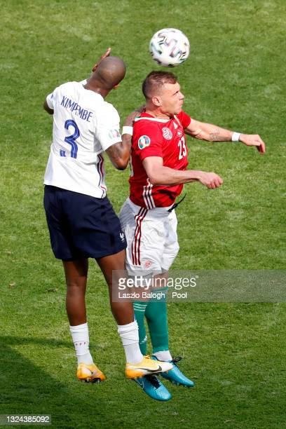 Nemanja Nikolic of Hungary battles for a header with Presnel Kimpembe of France during the UEFA Euro 2020 Championship Group F match between Hungary...