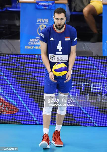 Nemanja Petric of Serbia prepares to serve during FIVB World Championships match between Serbia and France on September 21 2018 in Varna Bulgaria