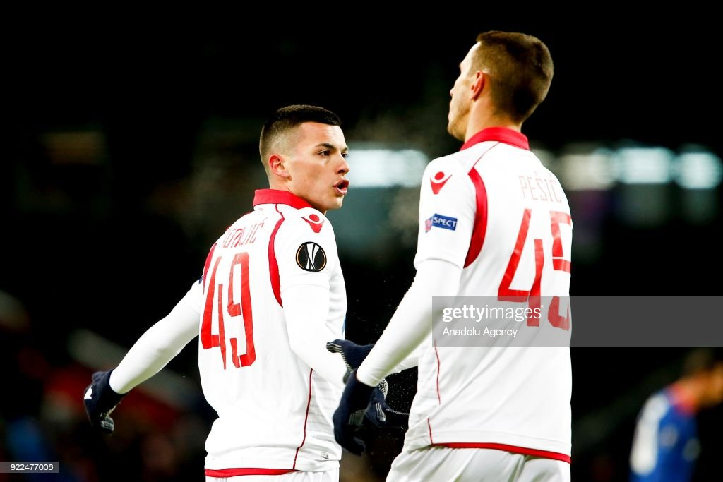 Nemanja Radonjic (L) and Aleksandar Pesic (R) of Crvena Zvezda are seen during the UEFA Europa League round of 32, second leg soccer match between CSKA Moscow and Crvena Zvezda at the Stadium CSKA Moscow in Moscow, Russia on February 21, 2018.